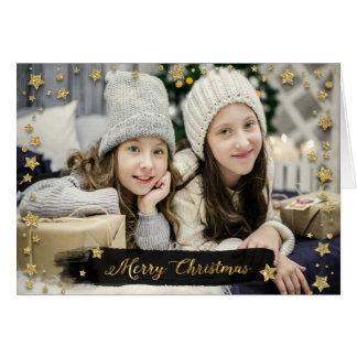 Christmas Holiday - Merry Christmas PHOTO Star Frm Card