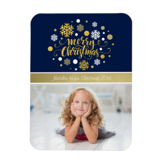 Christmas Holiday - Merry Christmas Shimmer Blue Rectangular Photo Magnet