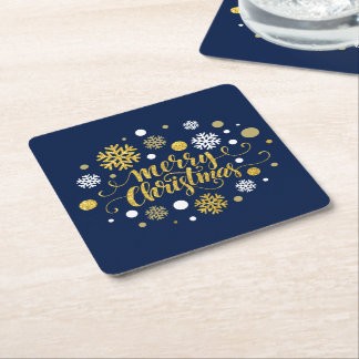 Christmas Holiday - Merry Christmas Shimmer Blue Square Paper Coaster