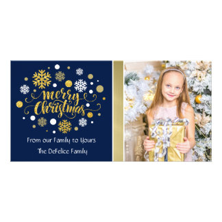 Christmas Holiday - Merry Christmas Shimmer Personalized Photo Card