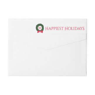 Christmas Holiday Monogram Festive Wreath Custom Wraparound Return Address Label