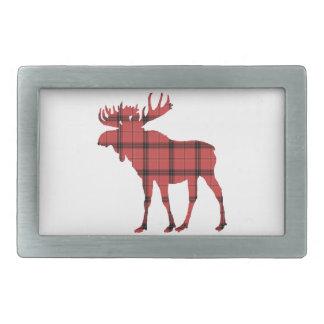 Christmas Holiday Moose Red Plaid Tartan Pattern Belt Buckle