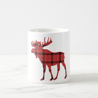 Christmas Holiday Moose Red Plaid Tartan Pattern Coffee Mug