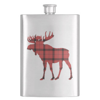 Christmas Holiday Moose Red Plaid Tartan Pattern Hip Flask