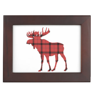 Christmas Holiday Moose Red Plaid Tartan Pattern Keepsake Box