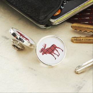 Christmas Holiday Moose Red Plaid Tartan Pattern Lapel Pin