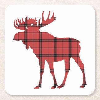 Christmas Holiday Moose Red Plaid Tartan Pattern Square Paper Coaster