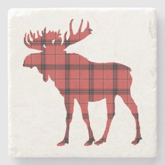 Christmas Holiday Moose Red Plaid Tartan Pattern Stone Coaster