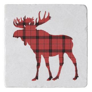 Christmas Holiday Moose Red Plaid Tartan Pattern Trivet