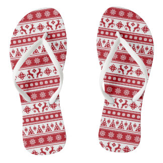 Christmas Holiday Nordic Pattern Cozy Flip Flops