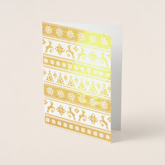 Christmas Holiday Nordic Pattern Cozy Foil Card