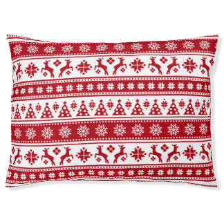 Christmas Holiday Nordic Pattern Cozy Pet Bed