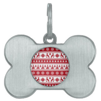 Christmas Holiday Nordic Pattern Cozy Pet Name Tag