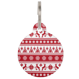 Christmas Holiday Nordic Pattern Cozy Pet Nametags