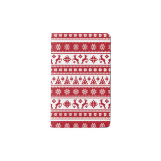 Christmas Holiday Nordic Pattern Cozy Pocket Moleskine Notebook