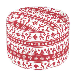 Christmas Holiday Nordic Pattern Cozy Pouf