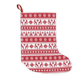 Christmas Holiday Nordic Pattern Cozy Small Christmas Stocking
