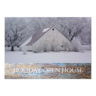 Christmas Holiday Open House Party Snow Barn Card