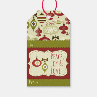 Christmas Holiday Ornament Pattern Gift Tags
