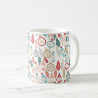 Christmas holiday ornament pattern, pastel coffee mug