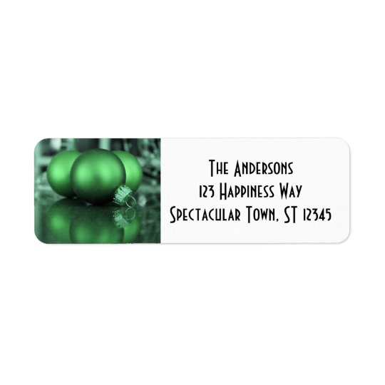 Christmas Holiday Ornaments, Green Photo Return Address Label