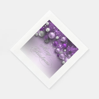Christmas Holiday Ornaments - Purples Disposable Napkin