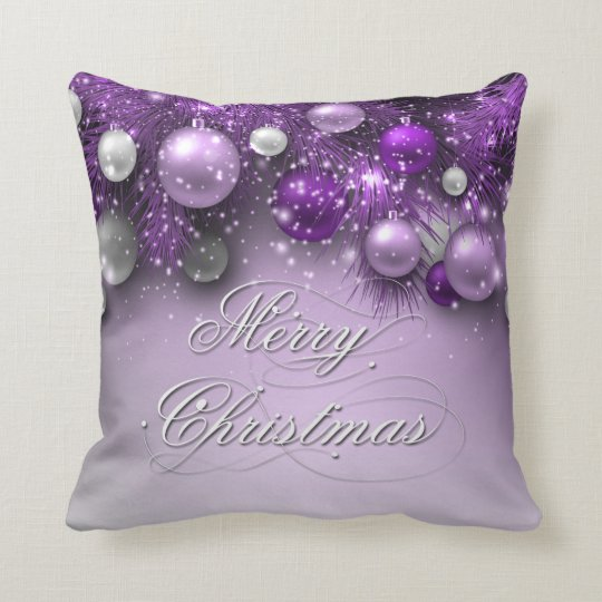 Christmas Holiday Ornaments - Purples Throw Pillow
