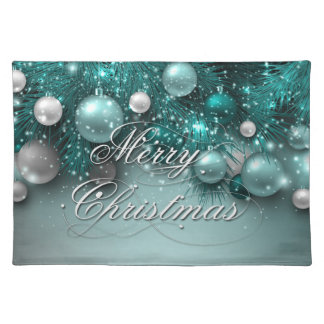 Christmas Holiday Ornaments - Teal Placemat