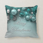 Christmas Holiday Ornaments Teal Throw Pillow