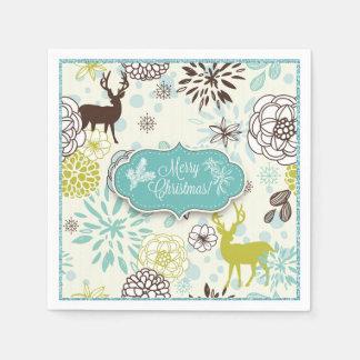 Christmas Holiday Paper Napkin - Vintage Blue Deer