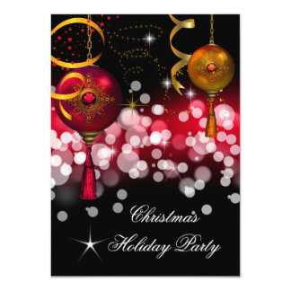"Christmas Holiday Party Gold Red Black 4.5"" X 6.25"" Invitation Card"
