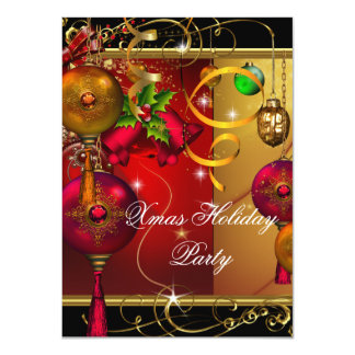 Christmas Holiday Party Gold Red Black Green Xmas 4.5x6.25 Paper Invitation Card
