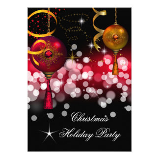 Christmas Holiday Party Gold Red Black Invites