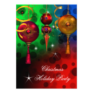 Christmas Holiday Party Gold Red Blue Green Personalized Invites