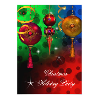 """Christmas Holiday Party Gold Red Blue Green 4.5"""" X 6.25"""" Invitation Card"""