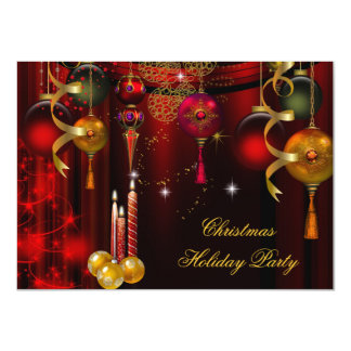 "Christmas Holiday Party Gold Red Xmas Decorations 4.5"" X 6.25"" Invitation Card"