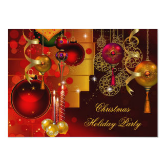Christmas Holiday Party Gold Red Xmas Decorations Invitation