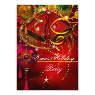 "Christmas Holiday Party Gold Red Xmas Glitter 4.5"" X 6.25"" Invitation Card"