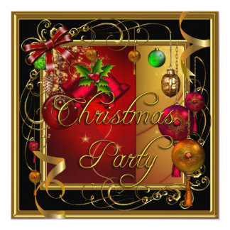 Christmas Holiday Party Gold Red Xmas Glitter Card