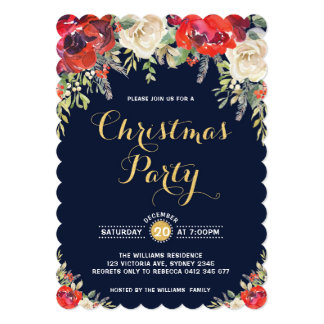 Christmas Holiday Party Invitation Red Floral Rose