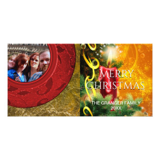 Christmas Holiday Photo Red Gold Candle Flame Card