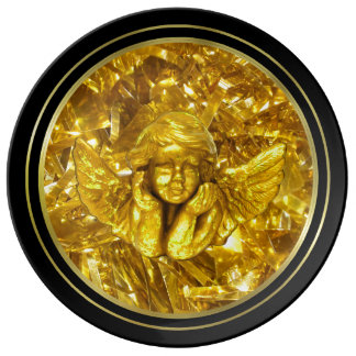 CHRISTMAS HOLIDAY PLATE, BLACK + GOLDEN YELLOW PLATE