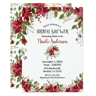 Christmas Holiday Poinsettia Flower Bridal Shower Card