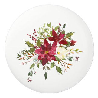 Christmas Holiday Poinsettia Flower Holly Berry Ceramic Knob