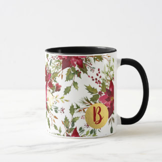 Christmas Holiday Poinsettia Flower Holly Berry Mug
