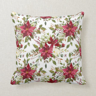 Christmas Holiday Poinsettia Flower Holly Berry Throw Pillow