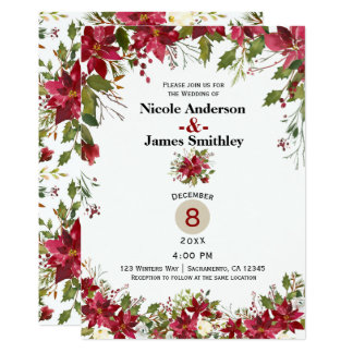 Christmas Holiday Poinsettia Holly Berry Wedding Card