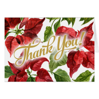 Christmas Holiday Poinsettias Thank You Card