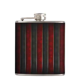 Christmas Holiday - Red/Black with Snowflakes Flask