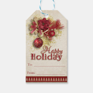 Christmas Holiday - Red/Gold Happy Holiday Gift Tags